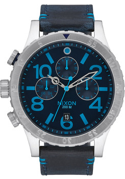 Nixon 48-20 Chrono Leather Dark Blue