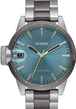 Nixon Chronicle 44 Gunmetal/Aqua Sunray