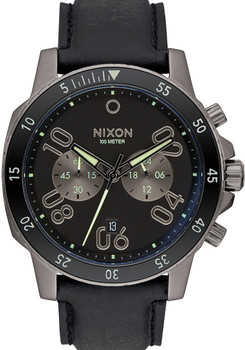 Nixon Ranger Chrono Leather Gunmetal Lum