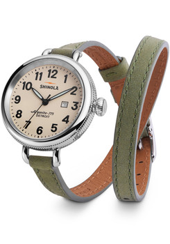 Shinola Birdy  34mm, Jade Green Outrigger Double Wrap Strap