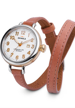 Shinola Birdy  34mm, Orchid Rockford Double Wrap Strap