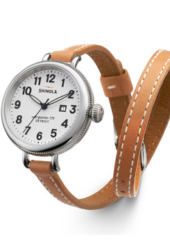 Shinola Birdy 34mm, White Dial, Natural Leather Strap
