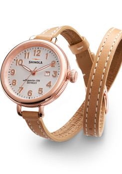 Shinola Birdy 34mm, Silver Dial, Natural Leather Strap