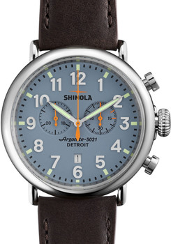 Shinola Runwell  47mm, Slate Blue, Deep Brown Leather Strap