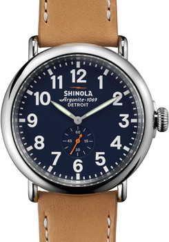 Shinola Runwell  47mm, Natural Leather Strap