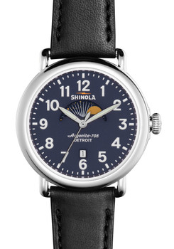Shinola Runwell Moon Phase 41mm Blue Dial, Black Strap
