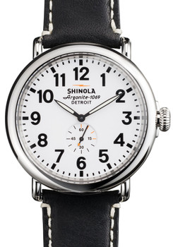 Shinola Runwell 47mm, White Dial, Black Leather Strap