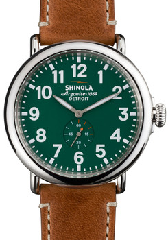 Shinola Runwell 47mm Green Dial, Brown Leather Strap