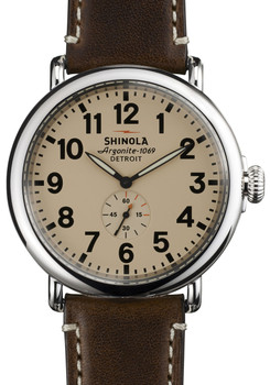 Shinola Runwell 47mm, Dark Coffee Leather Strap