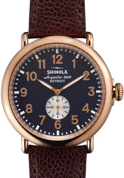 Shinola Runwell 47mm, Oxblood Leather Strap