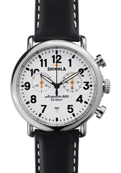 Shinola Runwell Chrono 41mm, Black Leather Strap