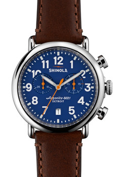 Shinola Runwell Chrono 41mm, Blue Dial, Brown Leather Strap