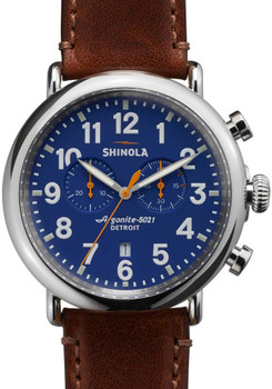 Shinola Runwell Chrono 47mm, Blue Dial, Brown Leather Watch (S0110000047)