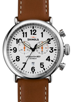 Shinola Runwell Chrono 47mm, White Dial, Brown Leather Strap