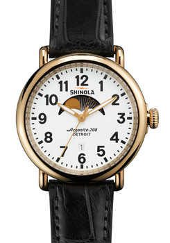 Shinola Runwell Moon Phase 41mm, Black Alligator Strap