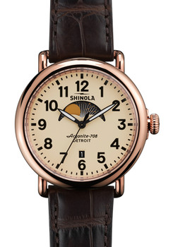 Shinola Runwell Moon Phase 41mm, Dark Brown Alligator Strap
