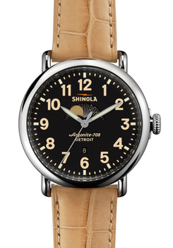 Shinola Runwell Moon Phase 41mm, Tan Alligator Strap Watch