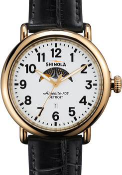 Shinola Runwell Moon Phase 47mm, Black Alligator Strap Watch