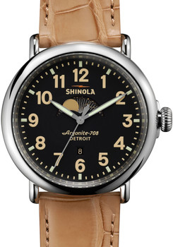 Shinola Runwell Moon Phase 47mm, Tan Alligator Strap Watch