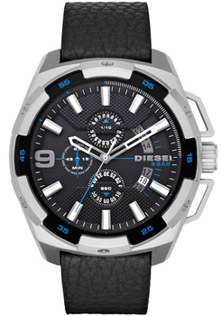 Diesel Watch DZ4392 Heavyweight Chrono Leather Black Silver Main