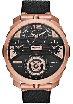 Diesel Watch DZ7380 Machinus 4-Time Leather Black Rosegold Main