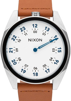 Nixon Genesis Leather White/Saddle One Hand watch