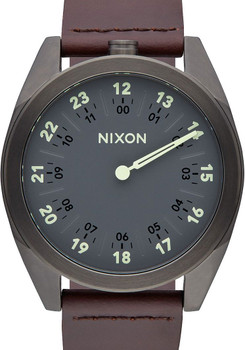 Nixon Genesis Leather Gunmetal/Brown One Hand watch