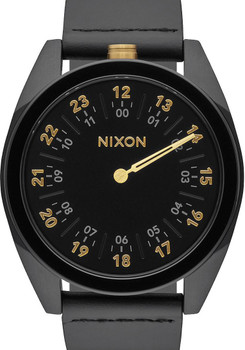 Nixon Genesis Leather All Black/Gold One Hand watch