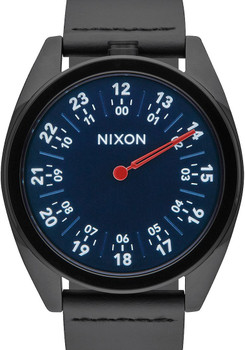 Nixon Genesis Leather All Black/Navy watch (A9262315)