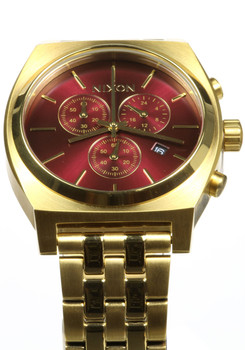 Nixon Time Teller Chrono All Gold Deep Burgundy (A9722397)
