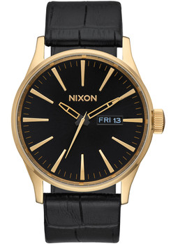 Nixon Sentry Leather Gold Black Gator (A1052022)