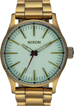 Nixon Sentry 38 SS All Brass/Green Crystal