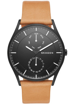 Skagen SKW6265 Holst Black Tan Leather Watch (SKW6265)