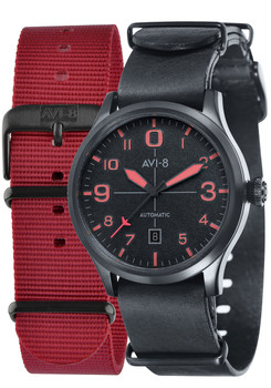 AVI-8 Flyboy Automatic Matte Black Red (AV-4021-0E)