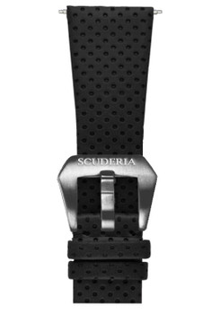 CT Scuderia Perforated Black Leather Strap (GS1322)