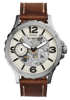 Fossil ME3128 Nate Mechanical Dark Brown Leather