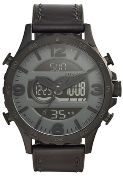 Fossil JR1520 Nate Analog-Digital Black Leather