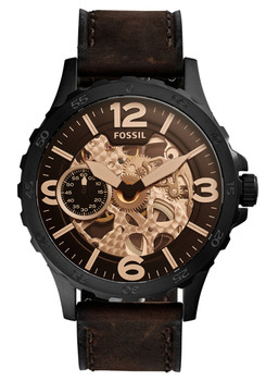 Fossil ME3127 Nate Hand-Wound Mechanical Dark Brown Leather