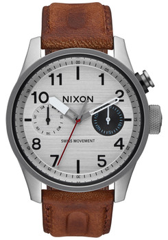 Nixon Safari Deluxe Leather Silver/Brown (A9771113)