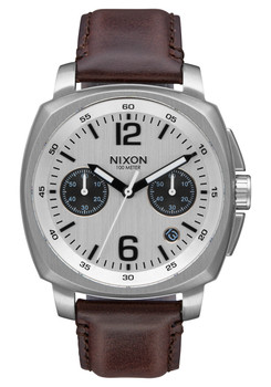 Nixon Charger Chrono Leather Silver Brown (A10731113)