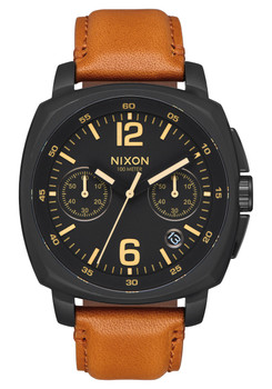Nixon Charger Chrono Leather All Black Light Brown (A10732447)