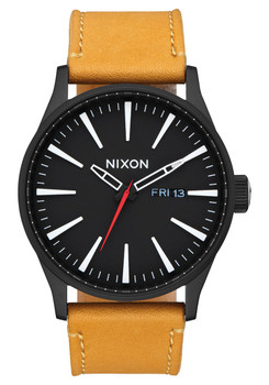 Nixon Sentry Leather All Black Goldenrod