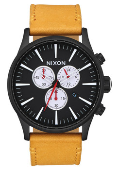 Nixon Sentry Chrono Leather All Black Goldenrod (A4052448)