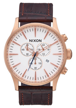 Nixon Sentry Chrono Leather Rose Gold Brown Gator (A4052459)