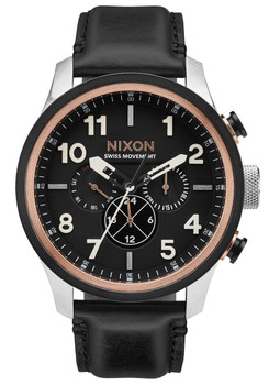 Nixon Safari Dual Time Leather Black Rose Gold (A10822051)