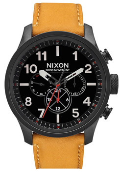 Nixon Safari Dual Time Leather All Black Goldenrod (A10822448)