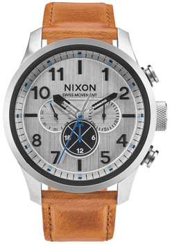 NIXON Safari Dual Time Leather Silver Saddle (A10822092)