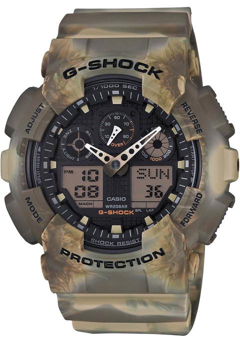 G-Shock GA-100MM Marble Camo Brown (GA-100MM-5A)  watch front