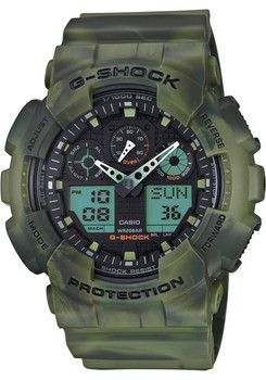 G-Shock GA-100MM Marble Camo Green (GA-100MM-3A)  watch front