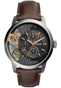 Fossil ME1163 Townsman Twist Leather Dark Brown (ME1163)